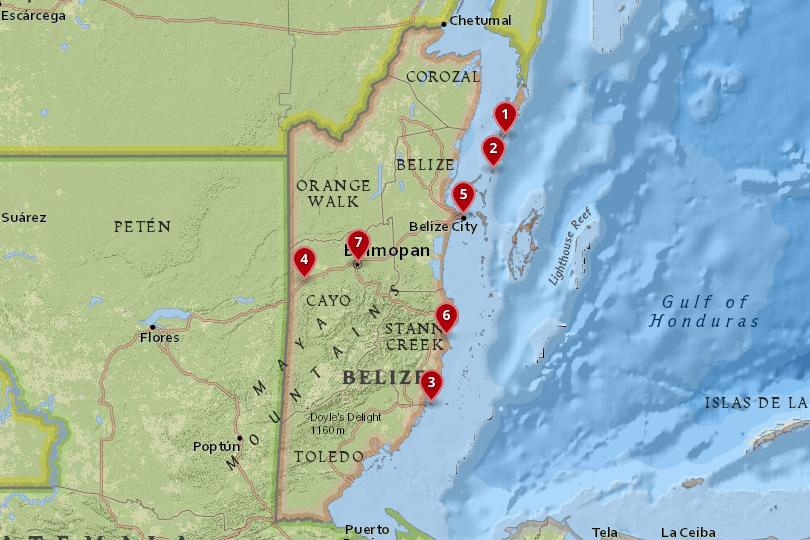 Map of the best places to stay in Belize