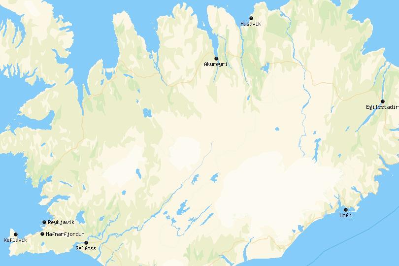 Kaart van de beste plaatsen om te verblijven in IJsland