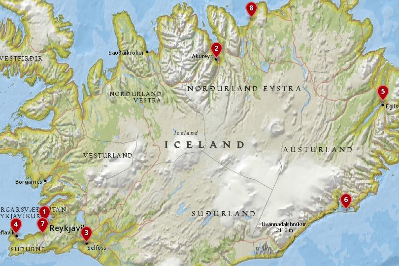 Map of the best places to stay in Iceland