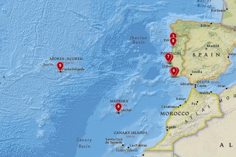 Map of the best places to stay in Portugal