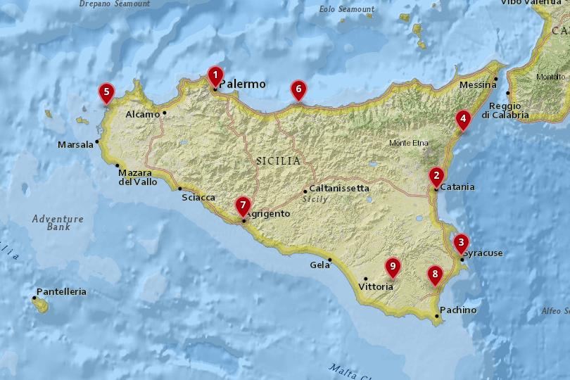 Map of the best places to stay in Sicily