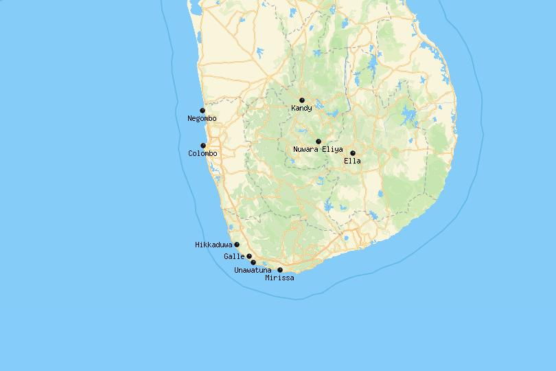 Map of the best places to stay in Sri Lanka