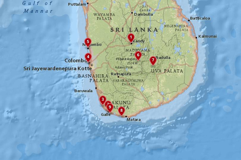 Map of the best places to visit in Sri Lanka
