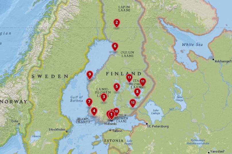Map of cities in Finland
