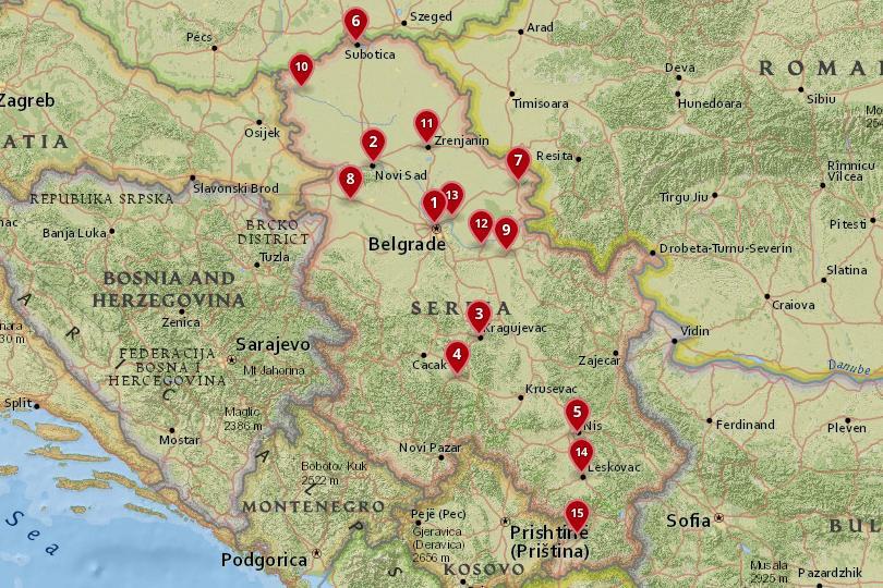 塞尔维亚城市地图