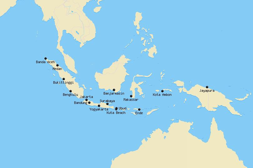 Map of cities in Indonesia