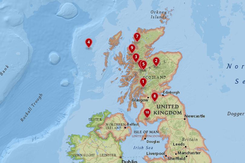 Map of national parks in Scotland