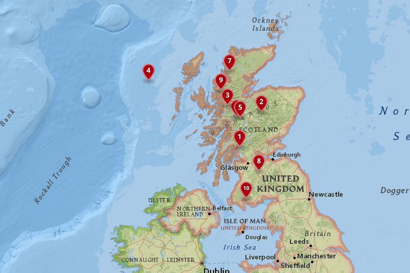 国家公园地图在苏格兰