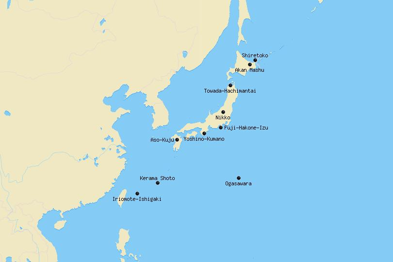 Map of national parks in Japan