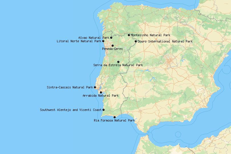 Map of natural and nature parks in Portugal