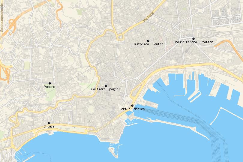 Map of the best places to stay in Naples