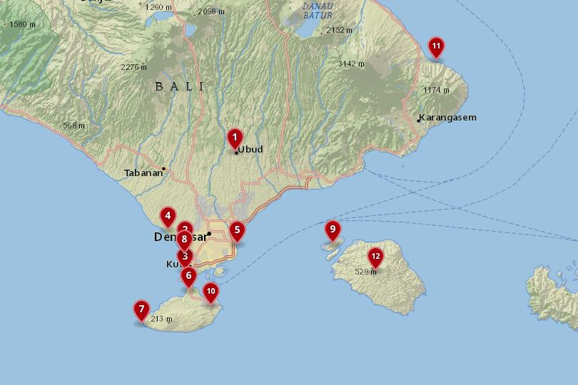 Map of the best places to stay in Bali
