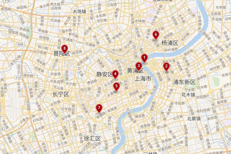 Map of the best places to stay in Shanghai