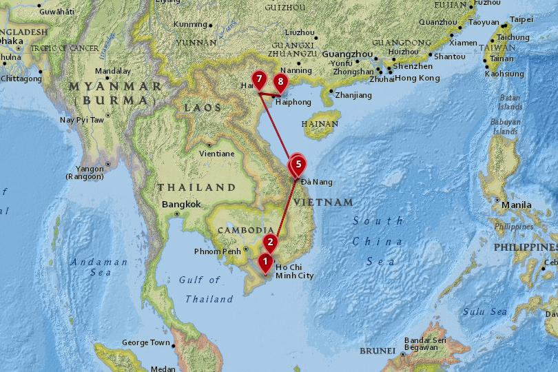 10 days in Vietnam map