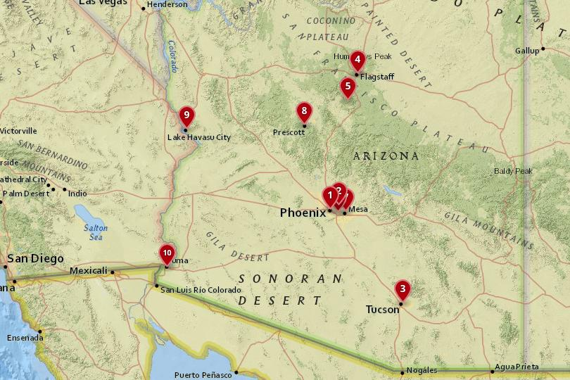 Map of cities in Arizona