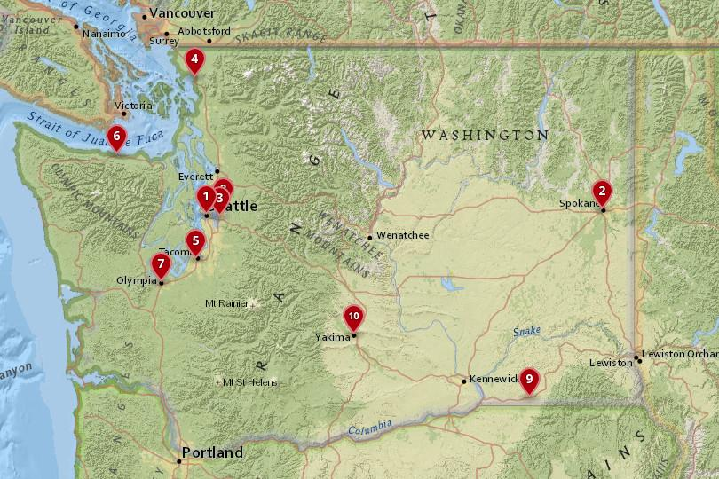 Map of cities in Washington State