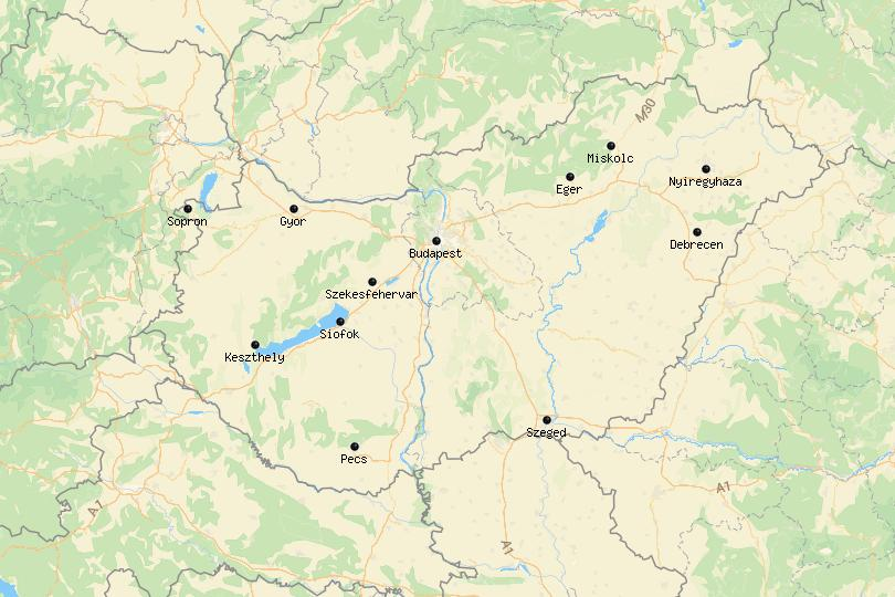Map of cities in Hungary