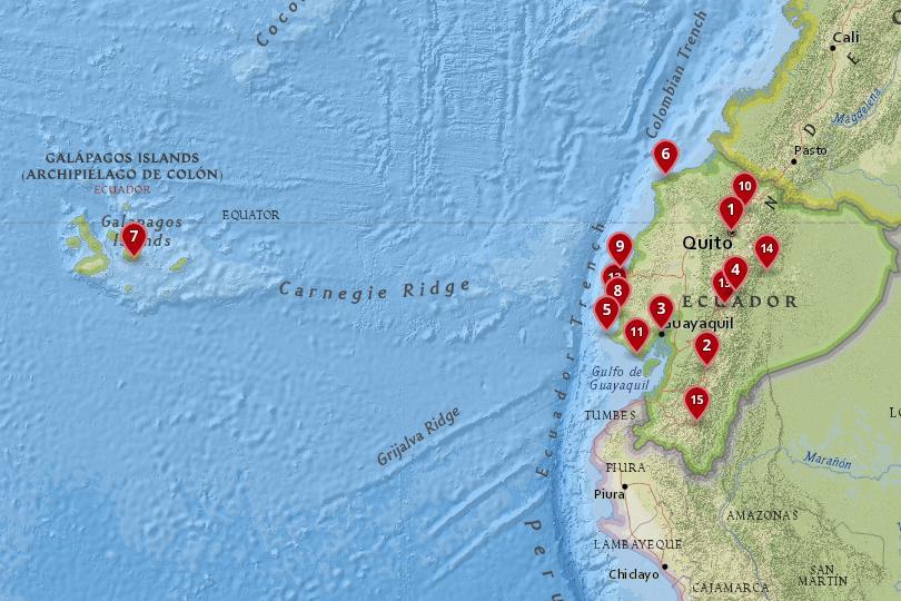 Map of cities in Ecuador