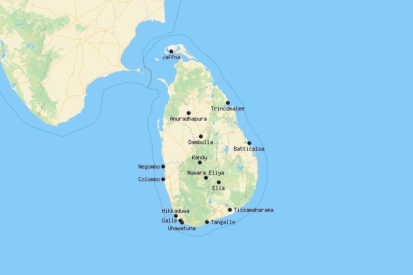 Map of cities in Sri Lanka