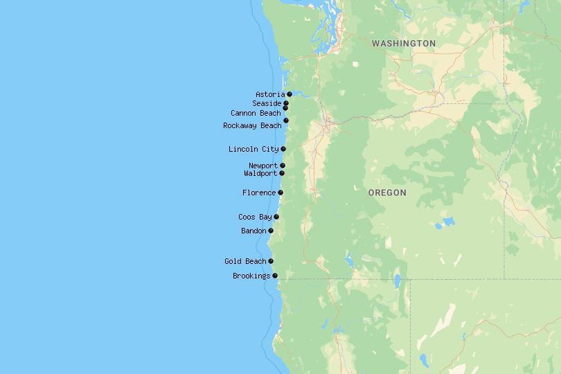 Map of the Oregon Coast