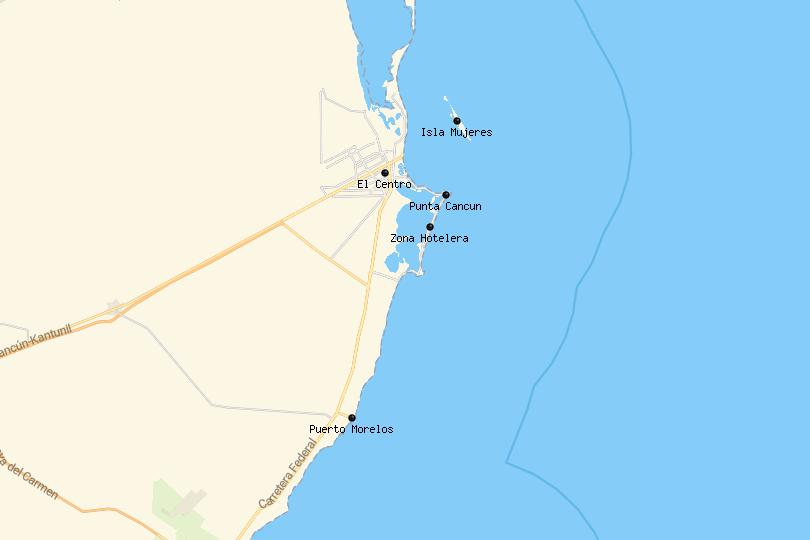 Map of Cancun