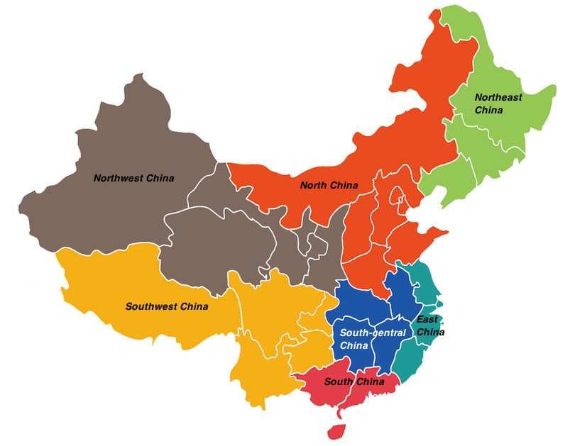China regions map
