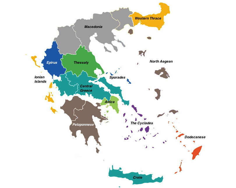 regions in greece map