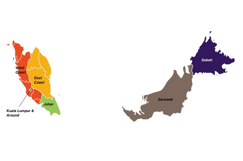regions in Malaysia map
