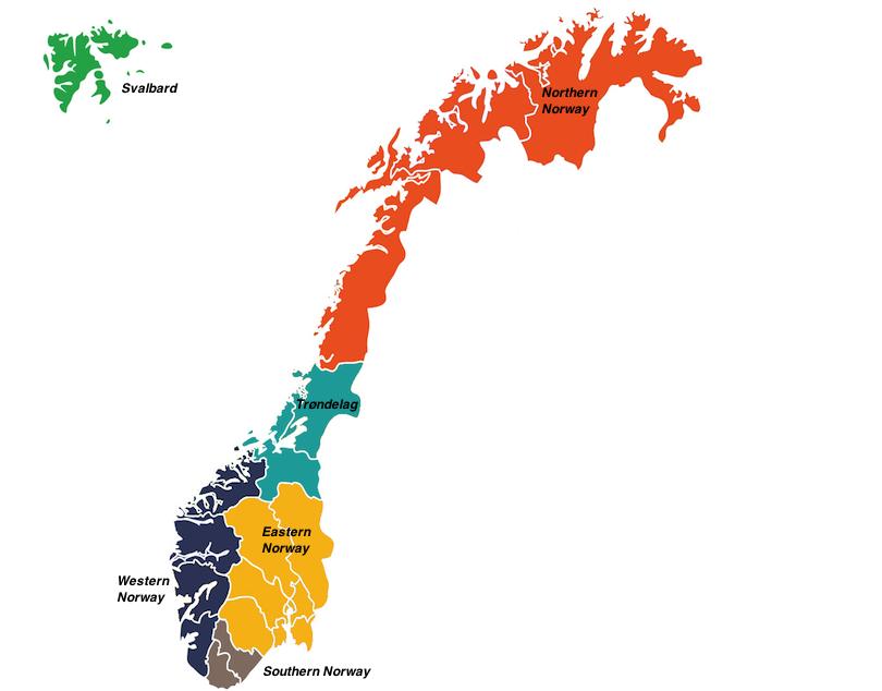 挪威的区域地图
