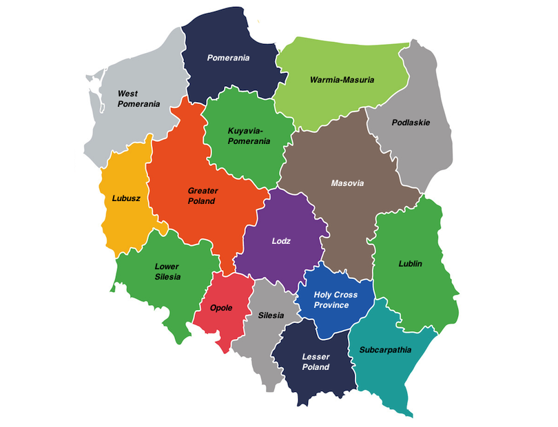 regions in Poland map