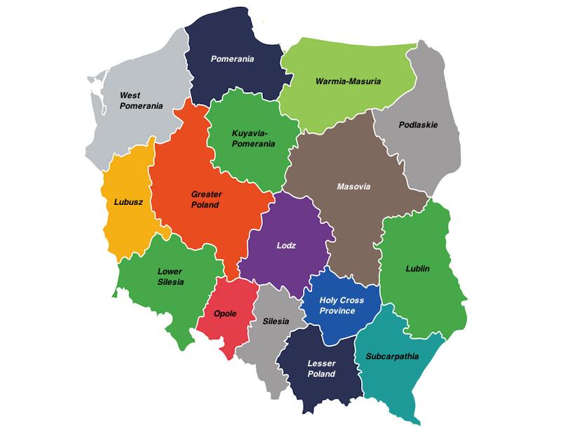 波兰地区的地图
