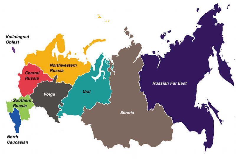 regions in Russia map