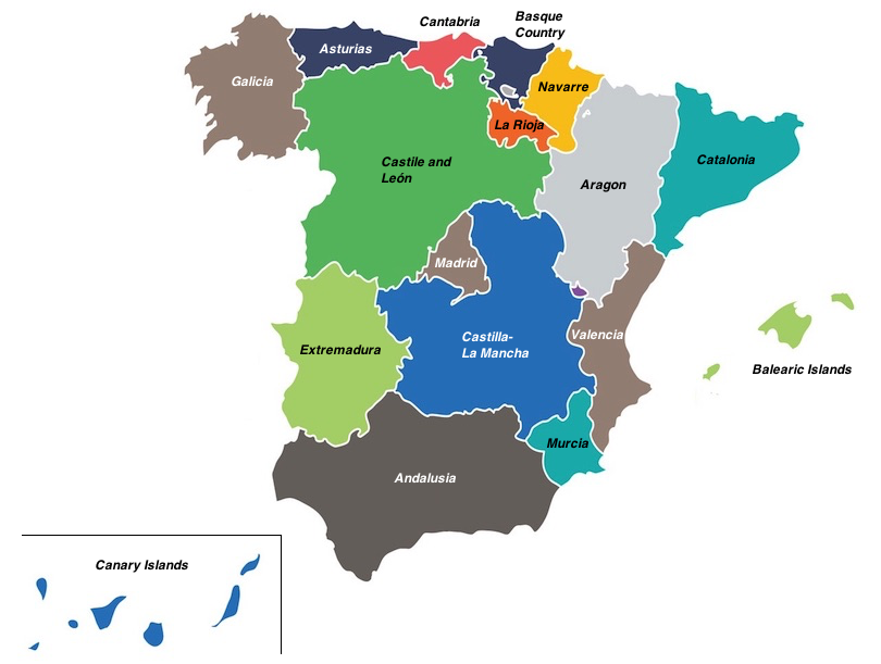 Map Of Spain With Regions.17 Most Beautiful Regions Of Spain With Photos Map Touropia