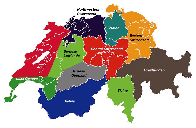 瑞士地区地图