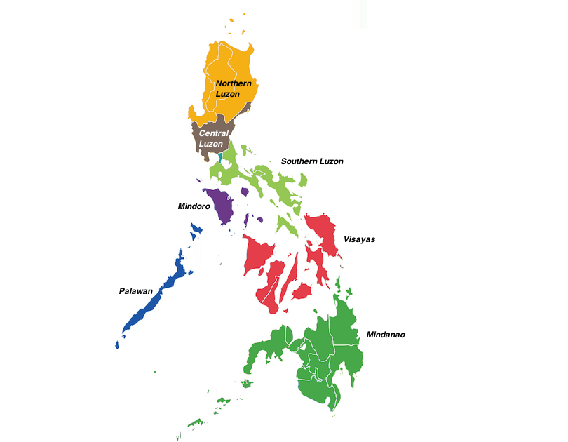 Regions in the Philippines Map