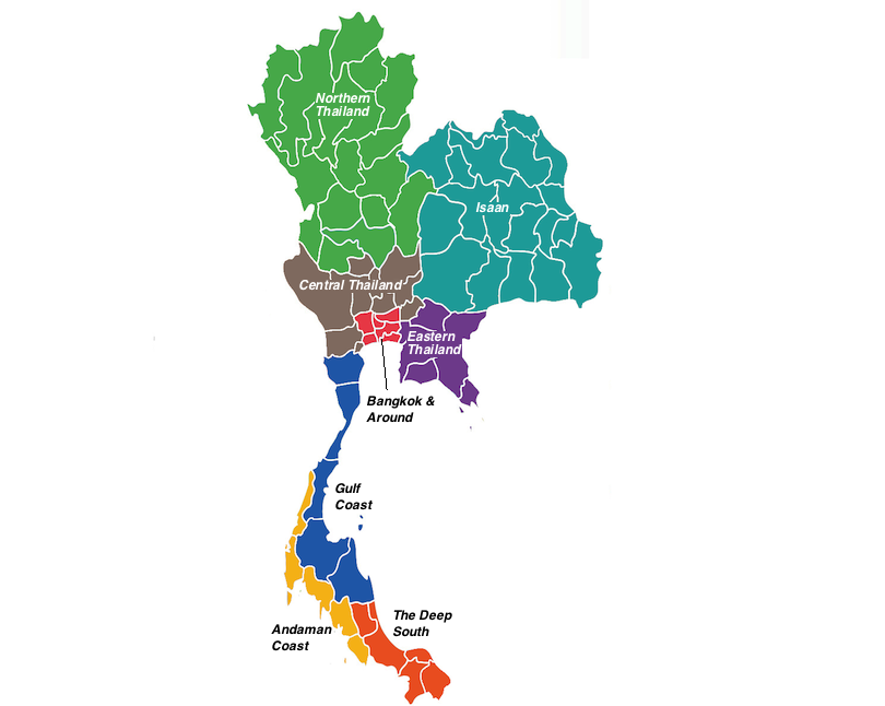 regions in Thailand map