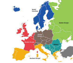 regions of Europe map