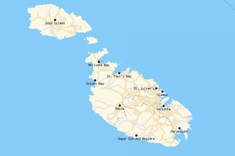 Map of the Best Places to Visit in Malta