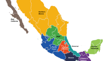 regions in mexico map