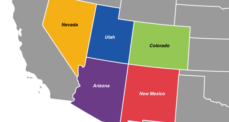 Southwest states map