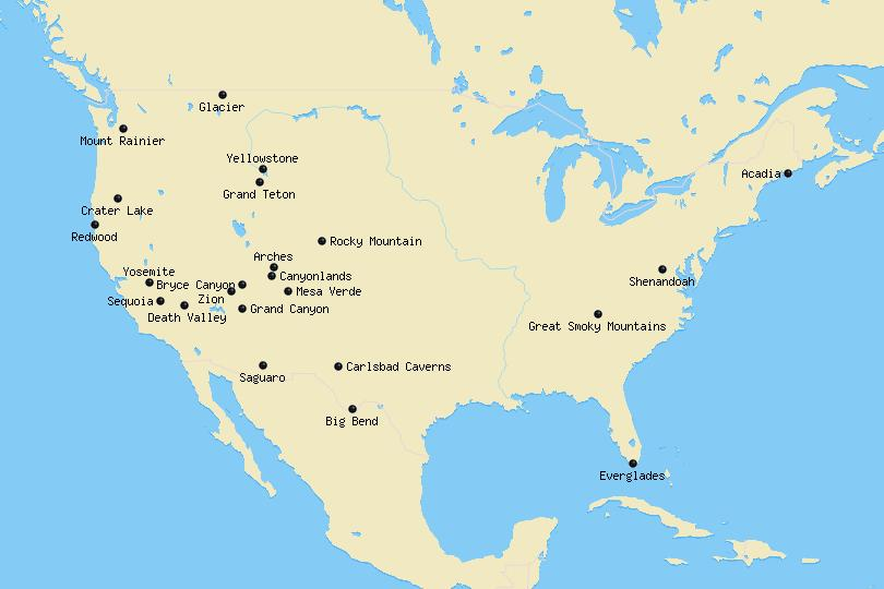 national parks usa map