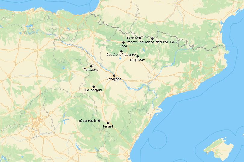 Aragon Spain map