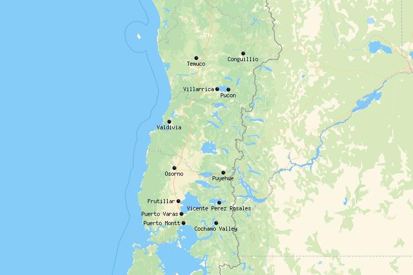 Lake District Chile map
