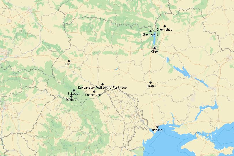 Map of the best places to visit in Ukraine