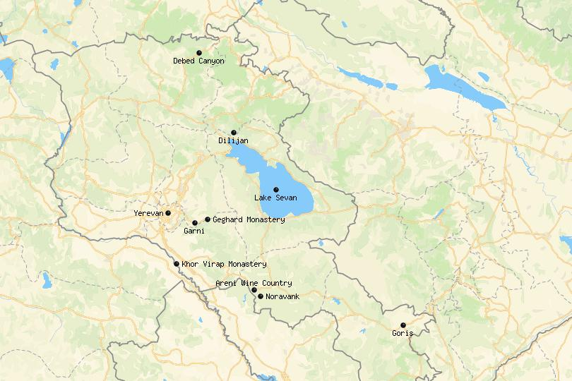 places in Armenia map