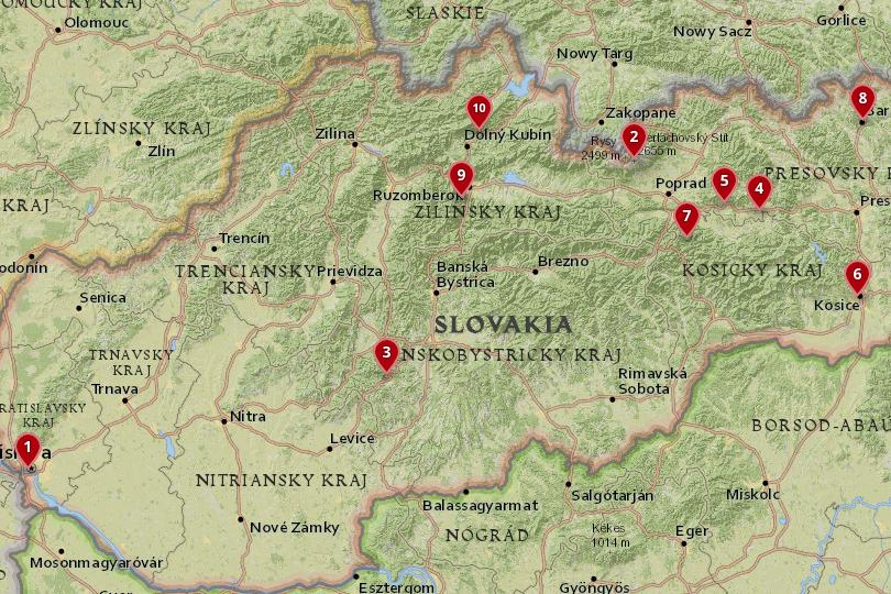 places in Slovakia Map