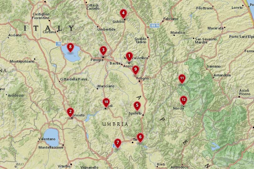 umbria italy map