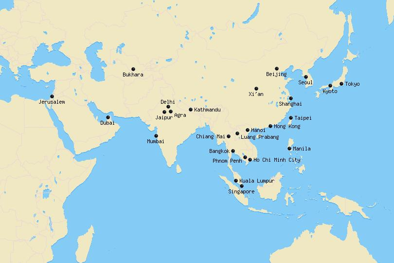 Map of the Best Cities to Visit in Asia