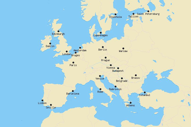 Cities of Europe Map