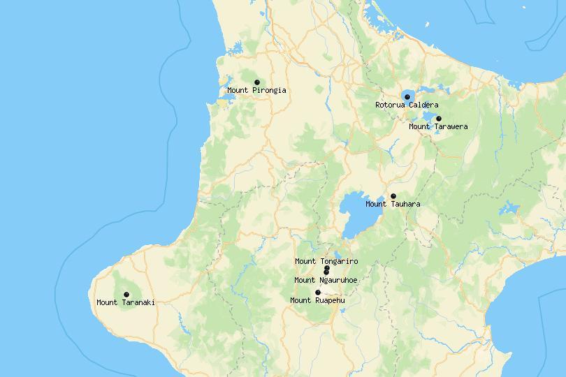 Map of Volcanoes in New Zealand
